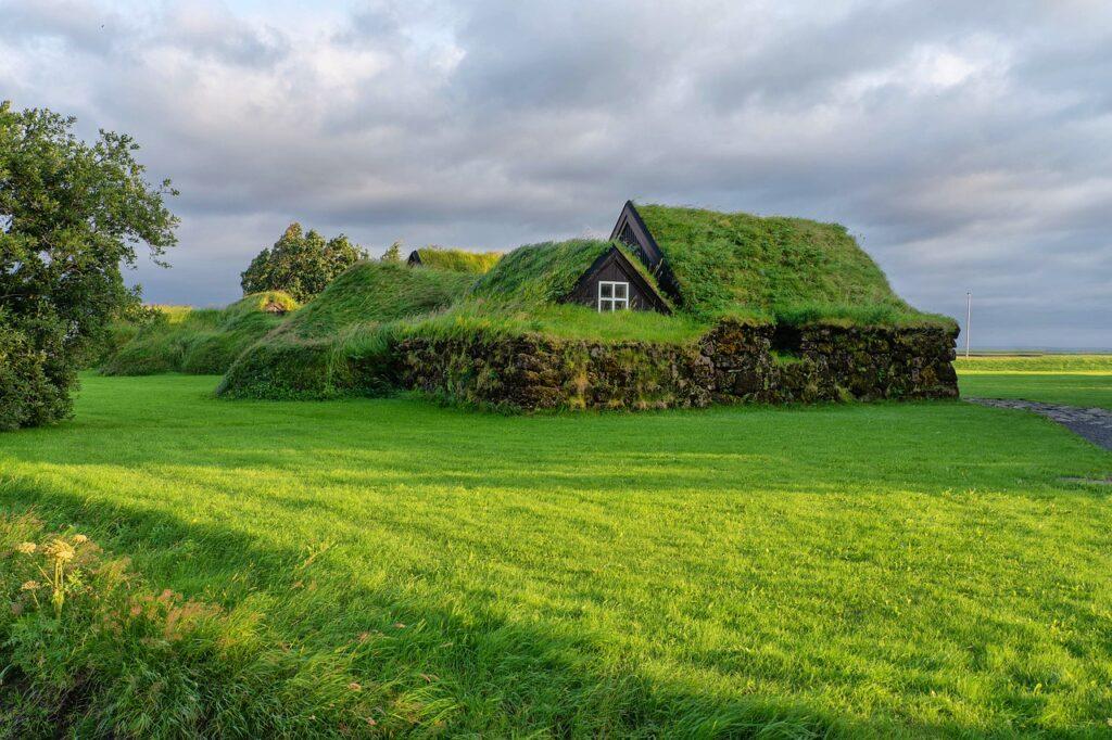 house, green, grass